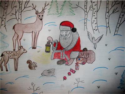 Картинки зима новогодние с животными